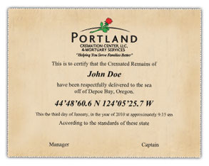 Portland Cremation Center's Scattering at Sea Certificate